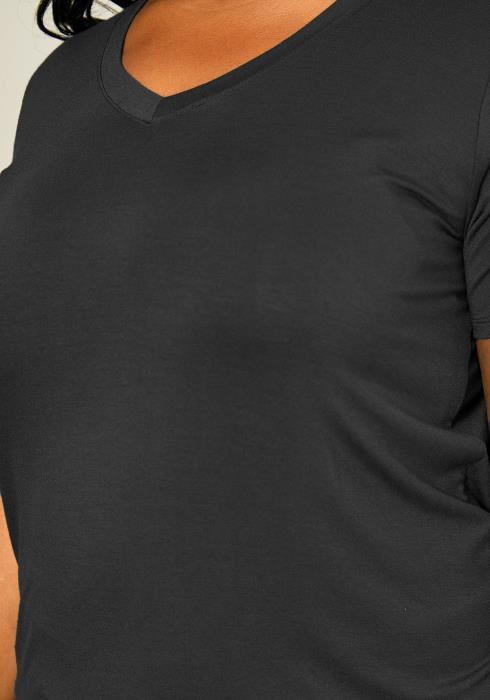 Asoph Plus Size Womens Simple V Neck Shirt