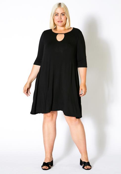 Asoph Curvy Womens Keyhole Front Flare Dress