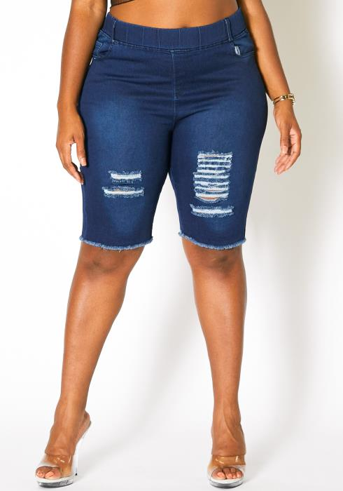 Asoph Plus Size Ripped Denim Jeggings Shorts