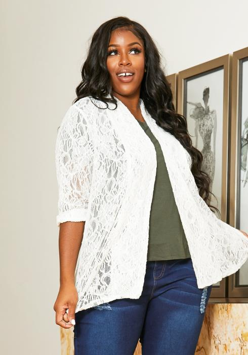 Asoph Plus Size Full Lace Open Front Women Cardigan