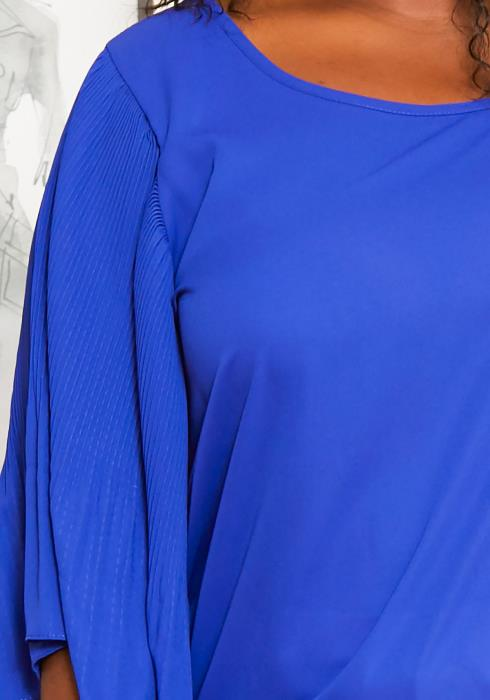 Asoph Plus Size Pleated Bell Sleeve Blouse