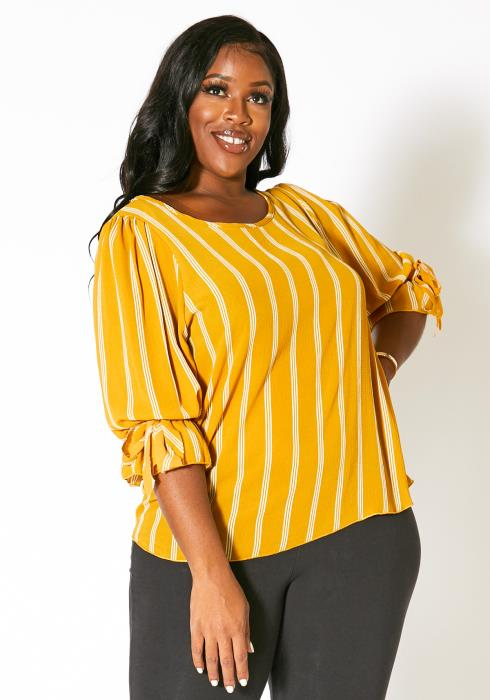 Asoph Plus Size Ruffle Sleeve Simple Blouse
