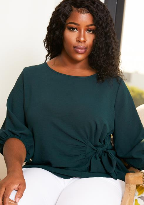 Asoph Plus Size Womens Hunter Green Ribbon Blouse