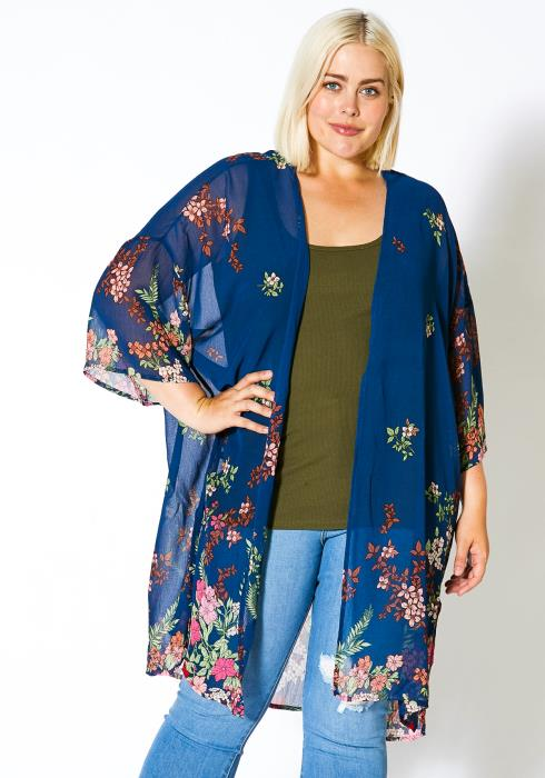 Asoph Curvy Womens Floral Kimono Cardigan
