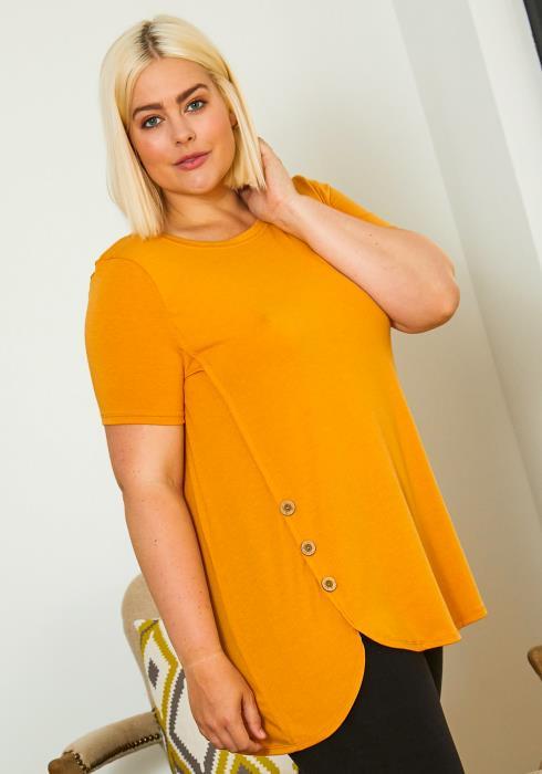 Asoph Plus Size Casual Button Hemmed Women Blouse