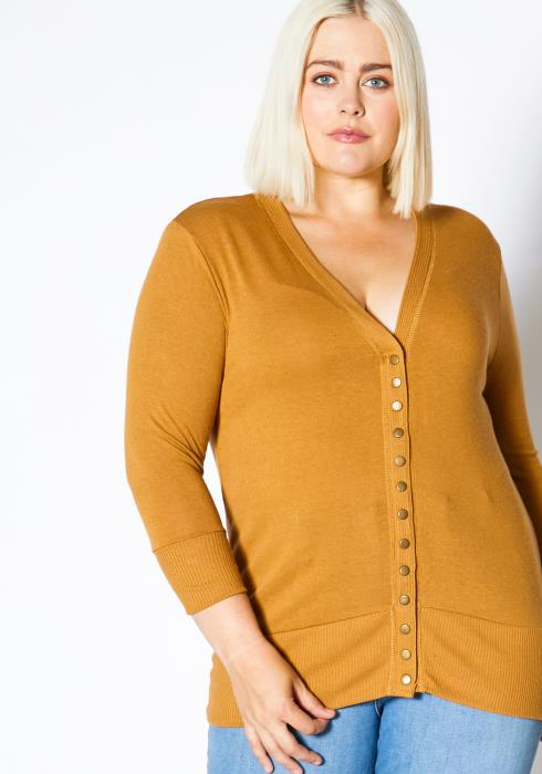 Asoph Plus Size Daily V-Neck Womens Cardigan