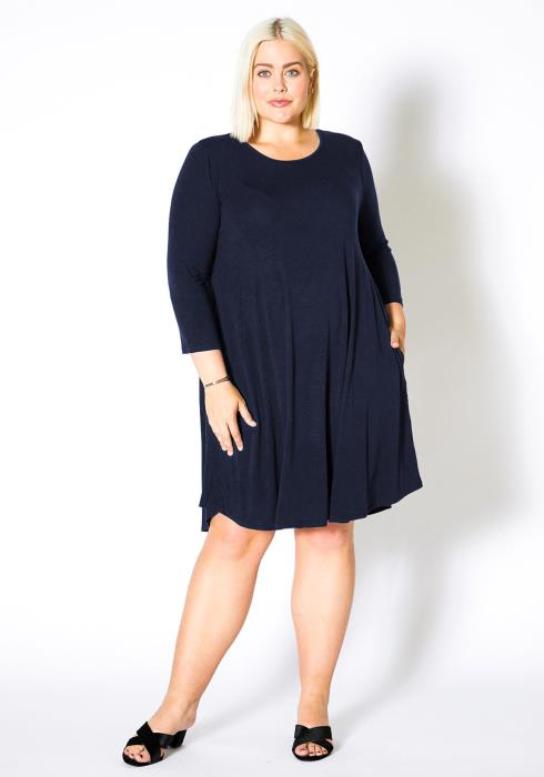 Asoph Plus Size Womens Basic Fit and Flare Long Sleeve Dress