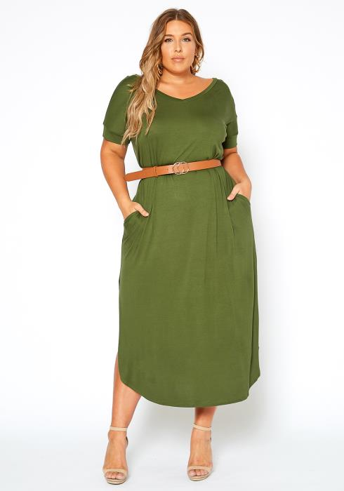Asoph Plus Size Back to Basic Double Slit Maxi Dress