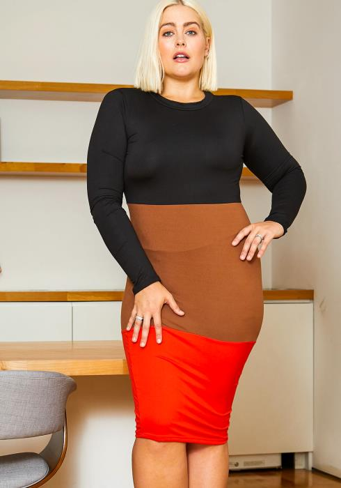 Asoph Plus Size Color Block Long Sleeve Women Dress