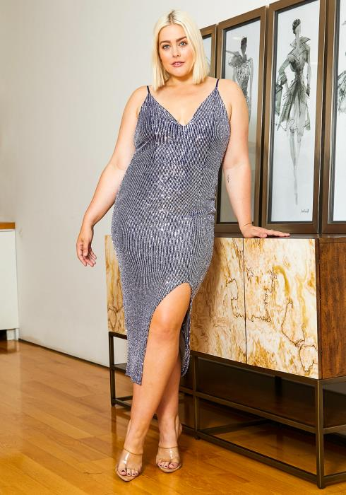 Asoph Plus Size Blue Silver Sequin Womens Party Midi Dress