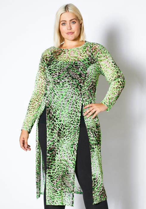 Asoph Plus Size Neon Leopard Double Slitted Womens Oversize Top