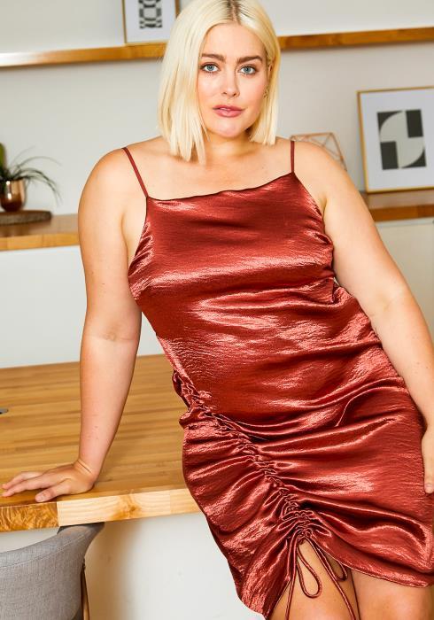 Asoph Plus Size Glamorous Women Satin Dress