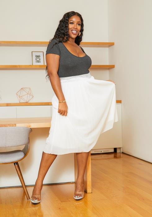 Asoph Plus Size Ivory Pleated Womens Midi Skirt
