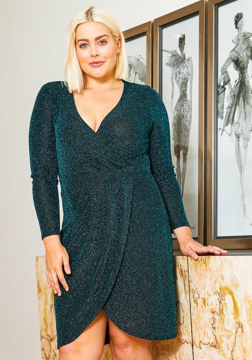 Asoph Plus Size Shimmering Womens Long Sleeve Teal Dress