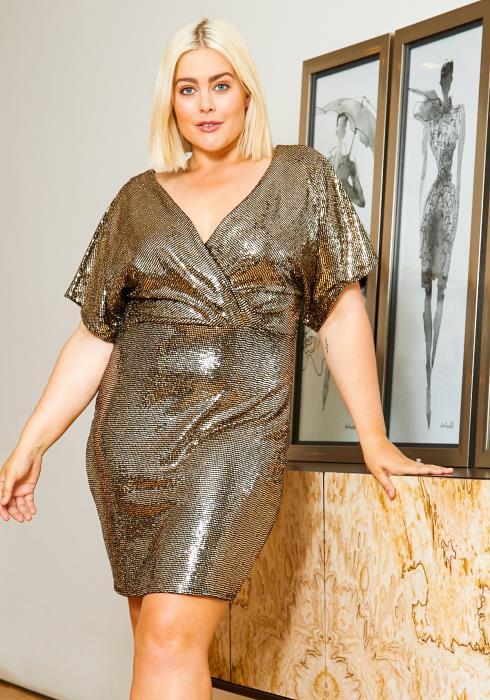Asoph Plus Size Disco Sequin Womens Surplice Dress