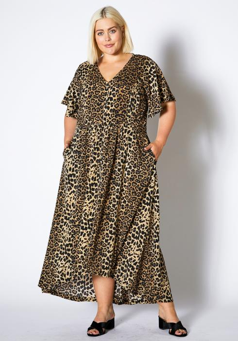Asoph Plus Size Womens Cheetah Print Surplice Maxi Dress