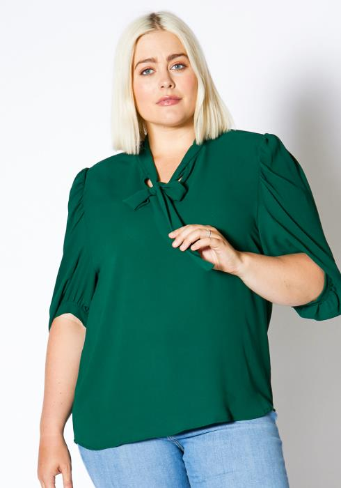 Asoph Plus Size Bow Front Womens Hunter Green Blouse