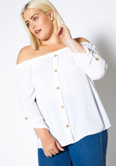 Asoph Plus Size Womens Off Shoulder Long Sleeve Blouse