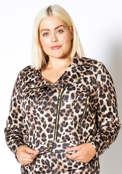 Asoph Plus Size Satin Leopard Women Jacket