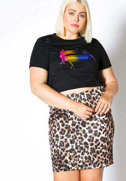 Asoph Plus Size Satin Leopard Womens Skirt