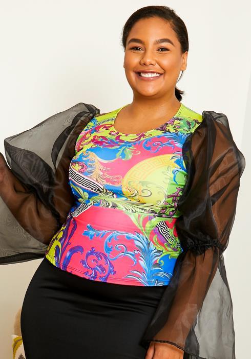 Asoph Plus Size Women Neon Desires Sheer Sleeve Graphic Top
