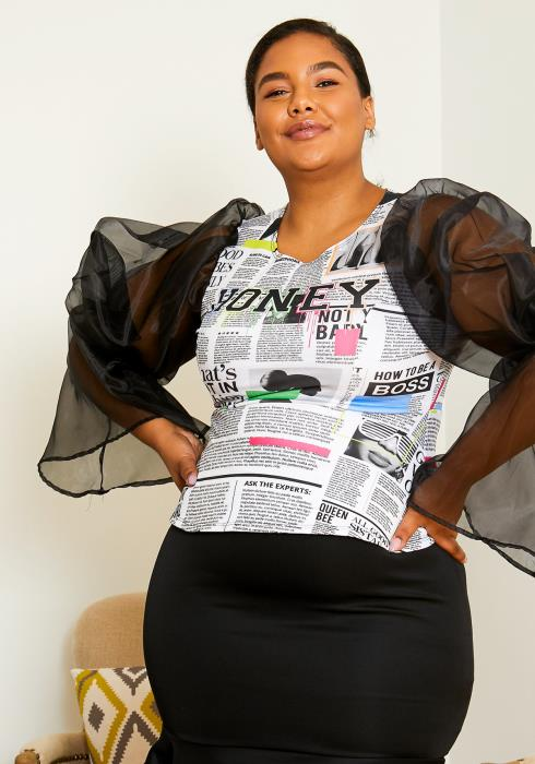 Asoph Plus Size Womens Good News Sheer Sleeved Graphic Top