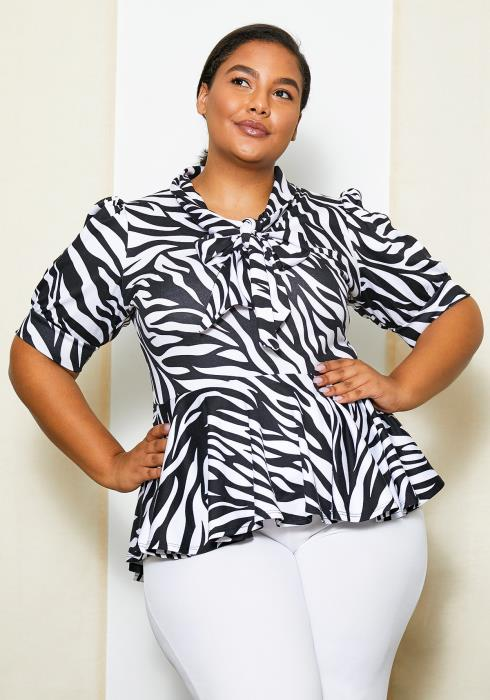 Asoph Plus Size Womens Zebra Peplum Top