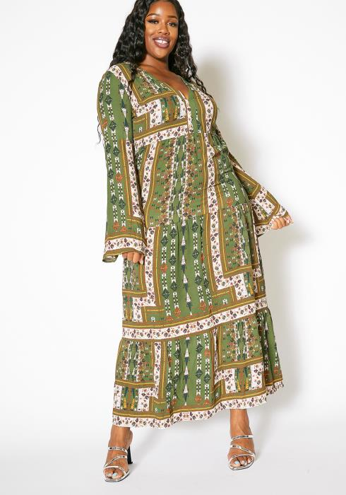 Asoph Plus Size Womens Vintage Bell Sleeve Maxi Dress