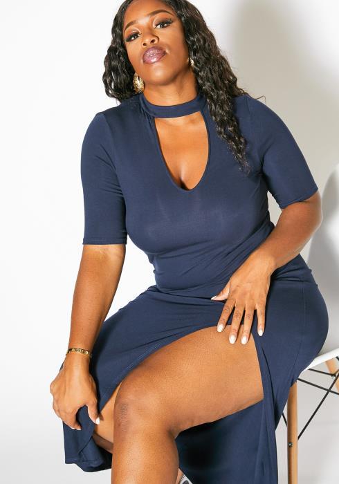 Asoph Plus Size Choker V Neck Women Dress