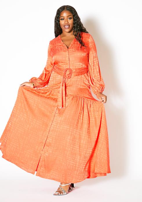 Asoph Plus Size Pleated Button Up Maxi Dress