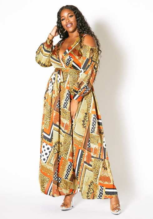 Asoph Plus Size Royal Multi Patterned Women Maxi Dress