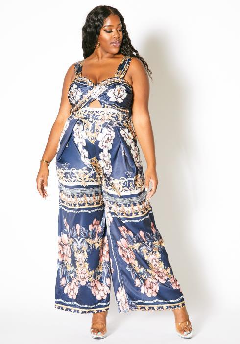 Asoph Plus Size Ethnic Floral Jumpsuit