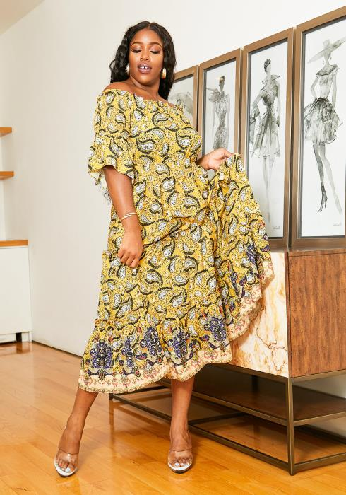 Asoph Plus Size Womens Off Shoulder Paisley Patterned Yellow Maxi Dress