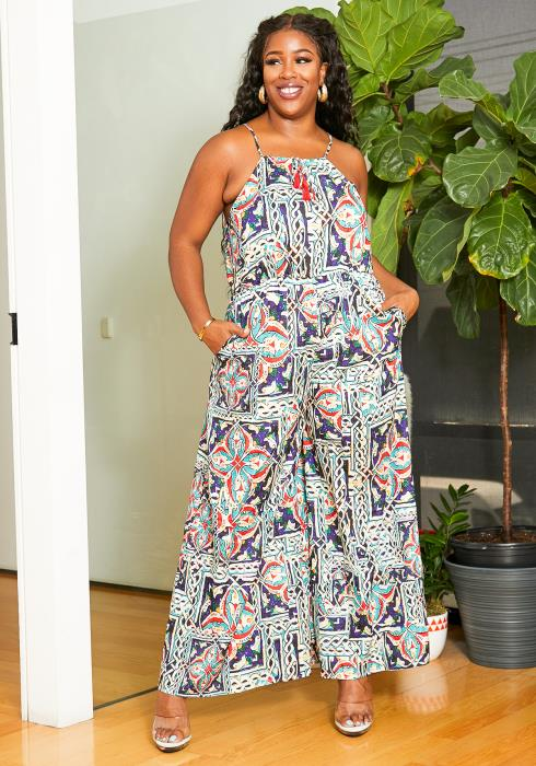 Asoph Plus Size Womens Exquisite Work of Art Patterned Jumpsuit