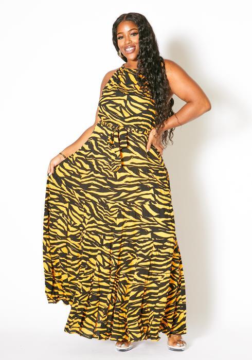 Asoph Plus Size Zebra Halter Maxi Dress