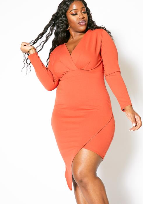 Asoph Plus Size Wrap Cocktail Dress