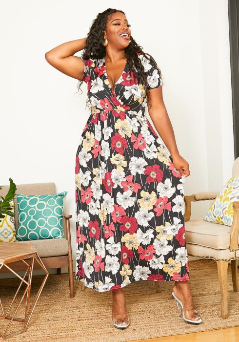 Asoph Plus Size Floral Season Women Maxi Dress