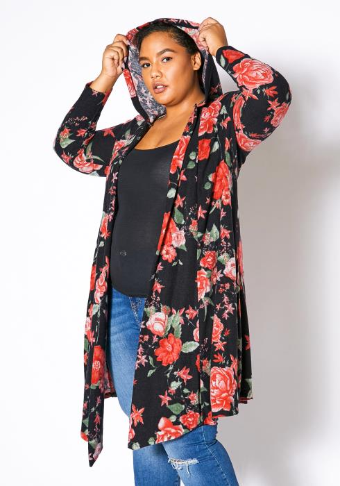 Asoph Plus Size Hooded Floral Cardigan
