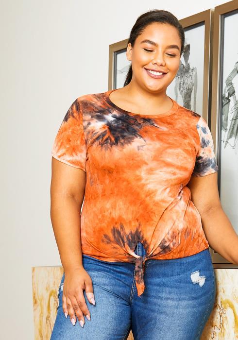 Asoph Plus Size Tangy Tangerine Tie Dye Womens Shirt