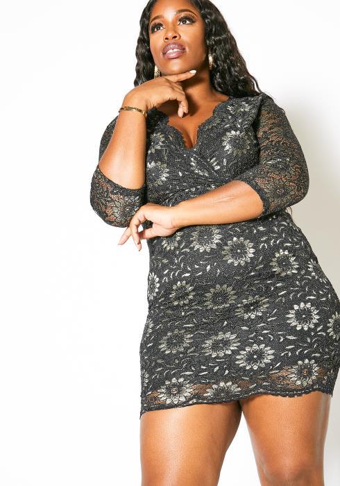 Asoph Plus Size Lacey Glitter Patterned Womens Dress