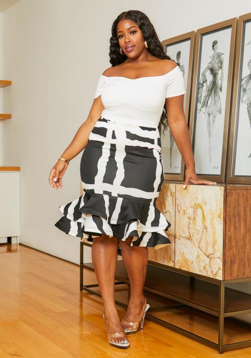 Asoph Plus Size Contrast Square Pattern Women Ruffled Skirt