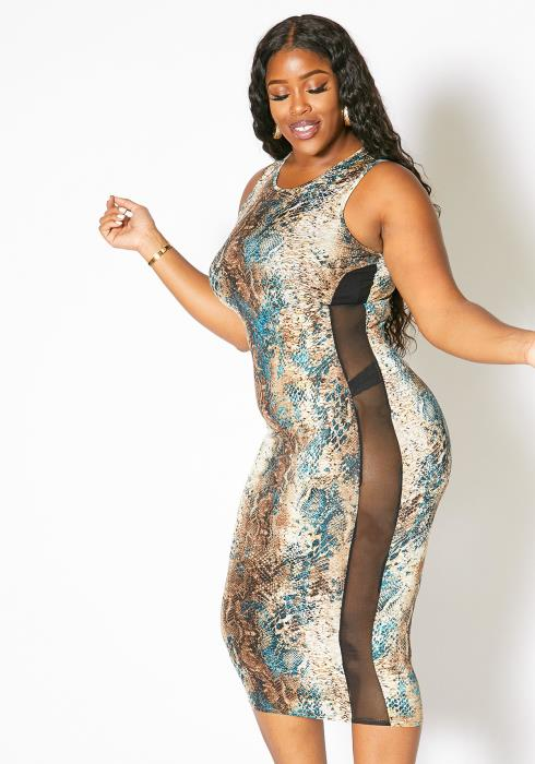 Asoph Plus Size Womens Teal Snakeskin Tank Dress