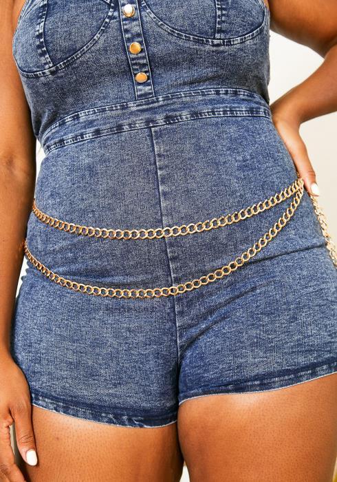 Plus Size Customized Layered Chain Belt