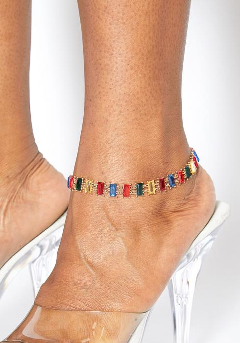 Plus Size Customized Emerald Jewel Anklet