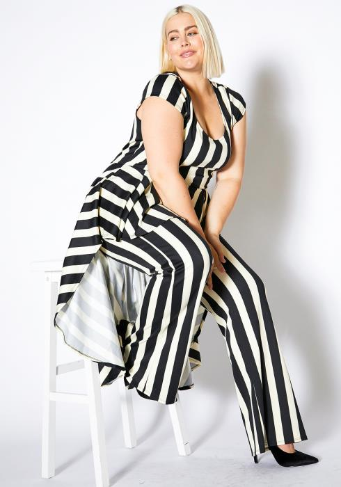Asoph Plus Size Stripe Cape Jumpsuit