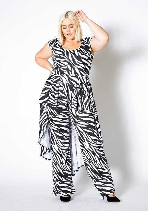 Asoph Plus Size Zebra Cape Jumpsuit