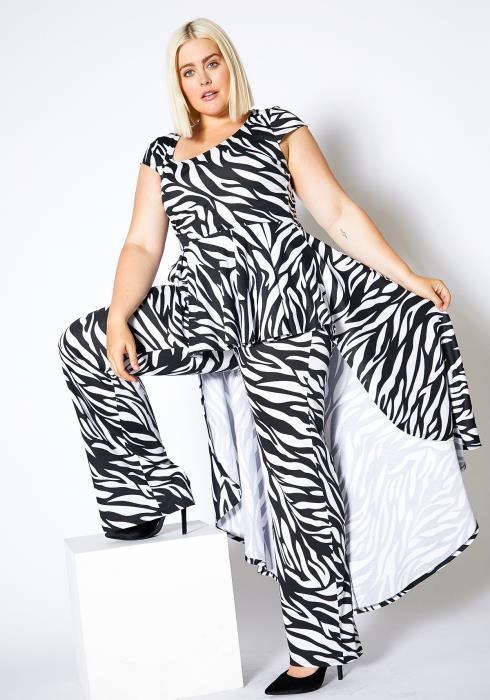 Asoph Plus Size Zebra Cape Jumpsuit