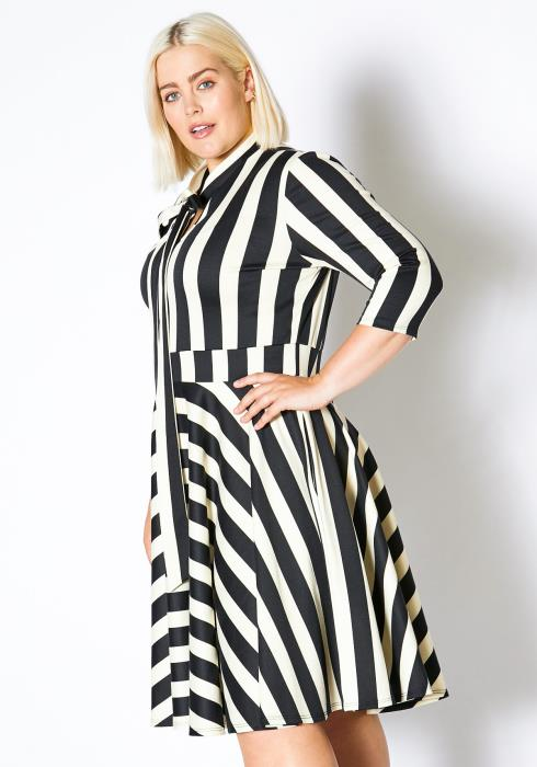 Asoph Plus Size Stripe Tie Neck Flared Dress