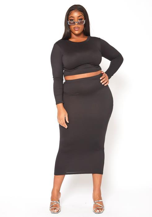 Asoph Plus Size Matching Crop Top and Maxi Skirt Set