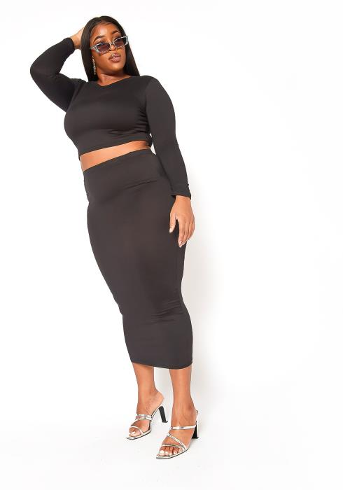 Asoph Plus Size Matching Crop Top and Maxi Skirt Set